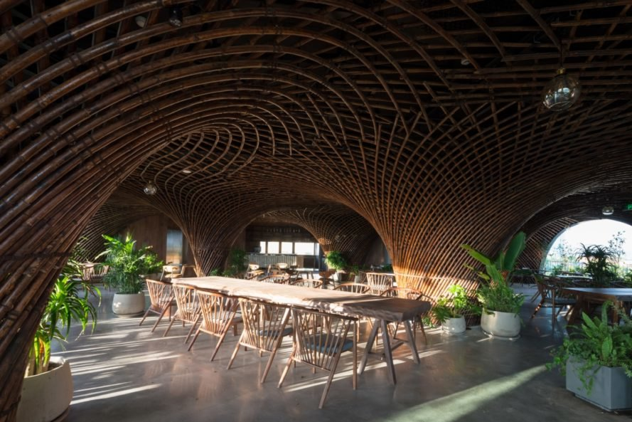 Beautiful bamboo arches breathe new life into a bland concrete building